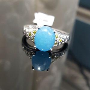 Jewelry - Burmese Blue Jade n Peridot CZ